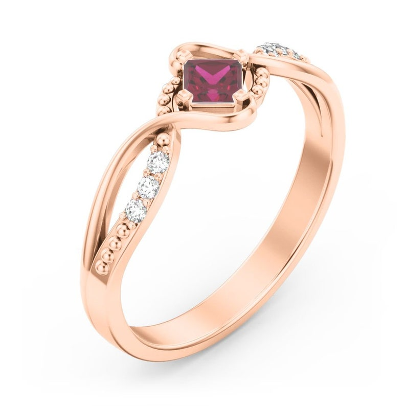 Never Plated! Espiral Personalized Ring with Cubic Zirconia Accents 10K /& 14K Solid Gold