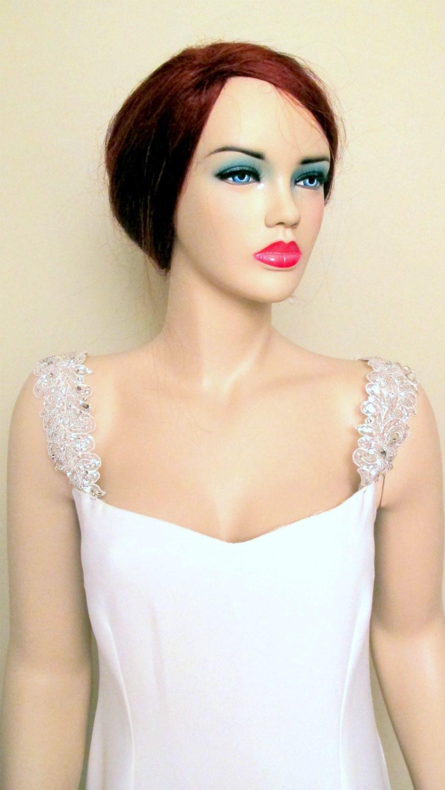 Wedding Dress Detachable Straps Rhinestone Crystal Bridal