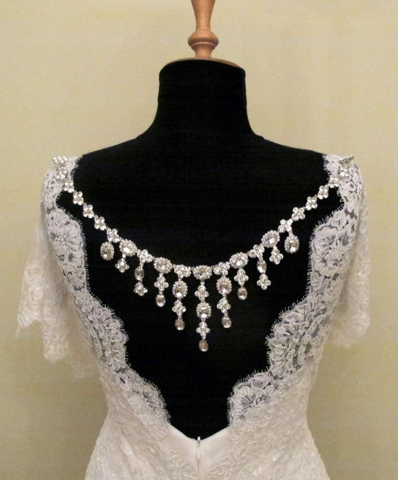 4bc9b8bb21ac2 Rhinestone Back Necklace Wedding Back Jewelry Pearl Beaded Detachable  Bridal Jewelry Backdrop Necklace Pearl Back Necklace