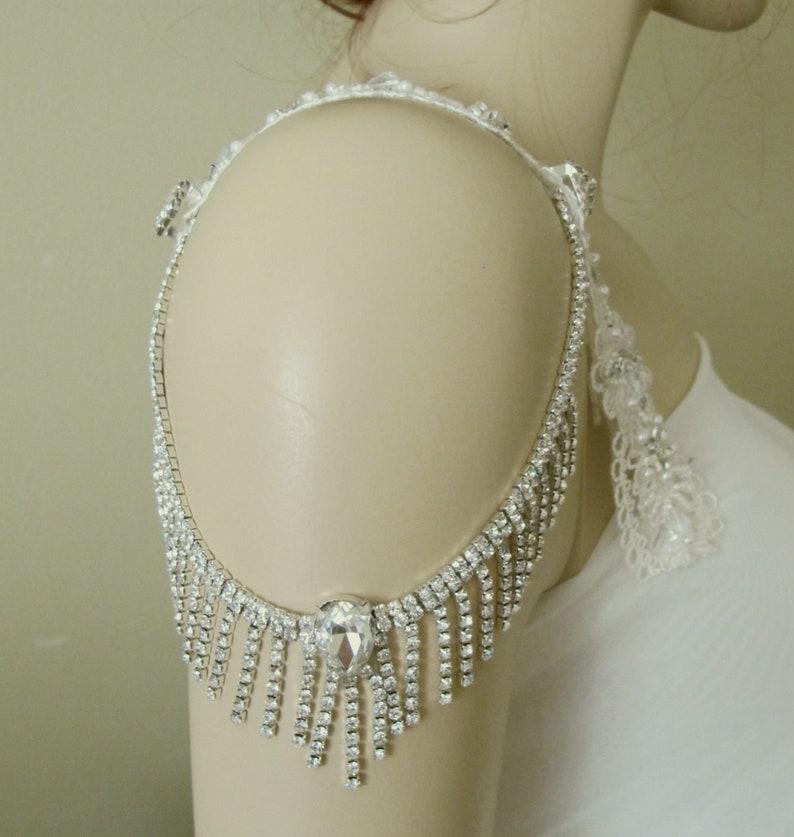 Bridal Shoulder Necklace Wedding Shoulder Jewelry  Detachable Wedding Dress Straps Crystal Straps Bridal Epaulettes