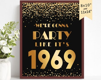 50th Birthday Party Decoration Ideas For Women Men Centerpiece Center Piece 50 Years Golden Sign Anniversary 1969 INSTANT DOWNLOAD Printable