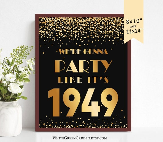 70th Birthday Party Decoration Ideas For Women Men Centerpiece Center Piece 70 Years Gold Sign Anniversary 1949 Instant Download Printable