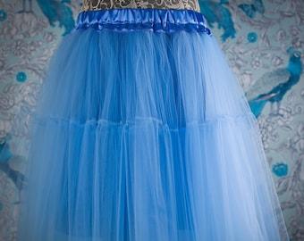Les vêtements bleu ce jupon Double couche, jupe en tulle, jupon en tulle de mariée, mariée jupe, célébration, fête, de mariage, cadeau, jupon, mode