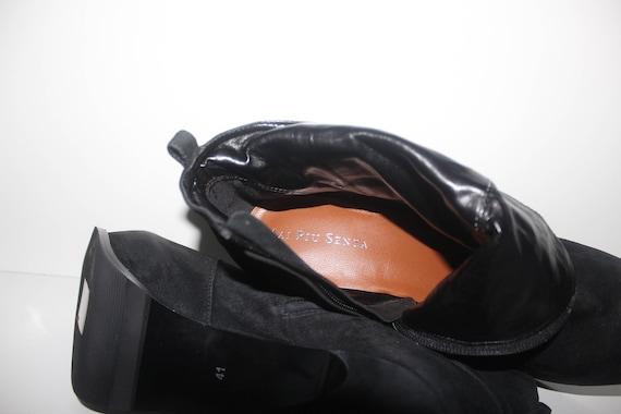 Vintage Heel Black Platform Stiletto SENZA UK7 Boots EUR41 High Leather Size Ankle Ladies MAI PIU New Real Suede 100 RdRxf