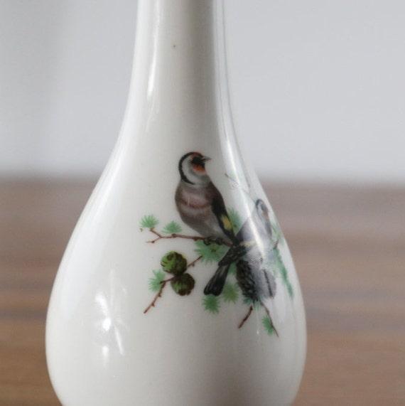 Porcelain Vase Birds Tall Bud Vase White 14k Gold Border Birds Etsy