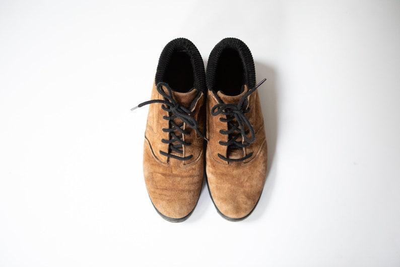 Vintage LA Gear Light Brown Ankle Boots  90/'s Suede Lace Shoes  Women/'s Size 6.5