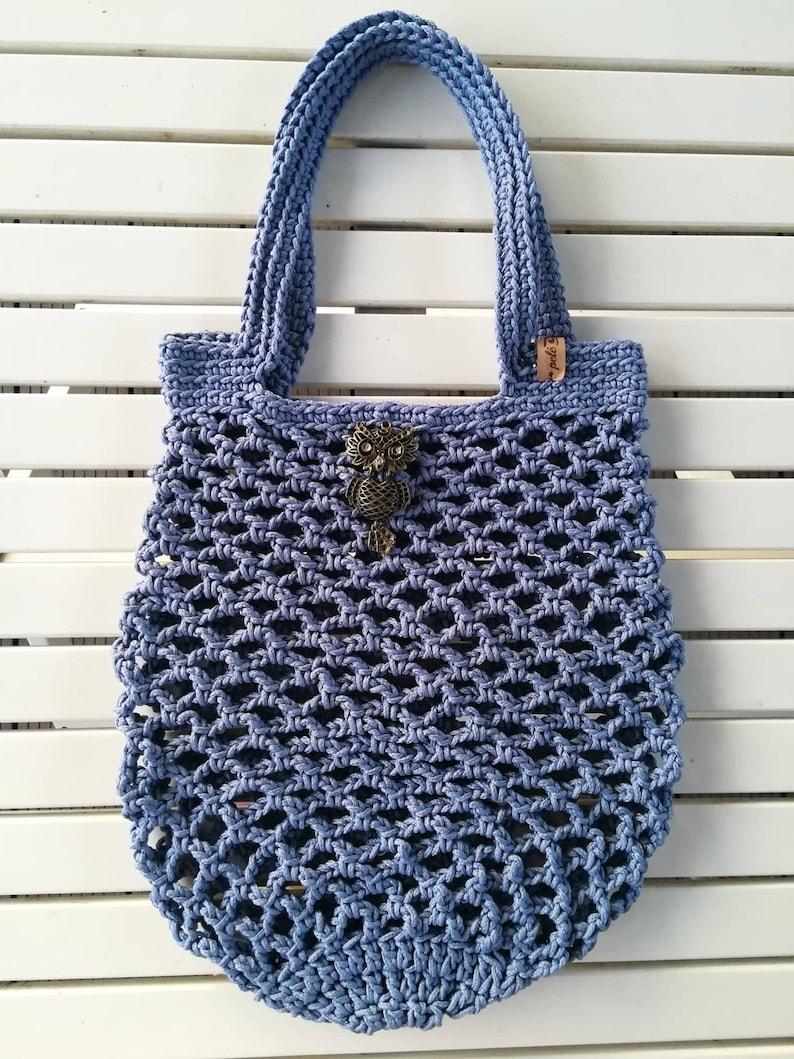 Shopping Bag Beach bag, rope Market bag Blue Shopping Bag Crochet mesh Shopper handmade crochet bag Lightblue Market Bag