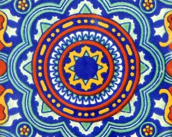 "Handmade Mexican Tile Sample  Talavera Clay 4/"" x 4/"" C237"