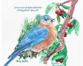 Song Birds of Tennessee - Plate 1 of 5: Eastern Bluebird (Later Edition)
