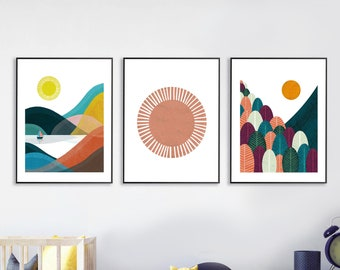 Boho Nursery Art | Set of 3 Prints | Mountain Wall Art | Sun Print | Colourful Forest Print | Nordic Art Print