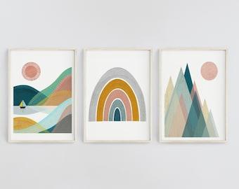 Set of 3 Prints | Nordic Nursery Decor | Mountain Print | Sunshine Print | Forest Poster