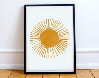 Shine Bright Blushing Sunshine Nursery Bedroom Boy Girl Wall Decor Poster Print