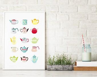 Teapot Art Print, Kitchen decor, Mid-century, Scrap booking, Teapot illustration, Home decor, vintage retro, kitchen art, Gift for her