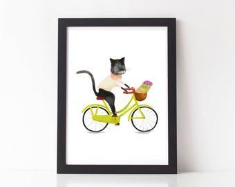 Cat Print and Mouse Art PriCat Wall Art, Nursery Wall Art Print, Cat Illustration, Baby Gift, Animal Print, Kids room decor, Modern