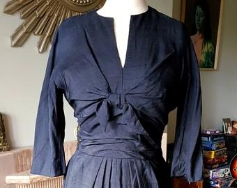 Late 1940's, Early 1950's Silk Wiggle Dress