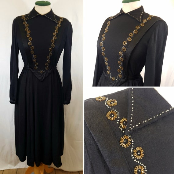 1940s Crepe Dress with Beaded Front