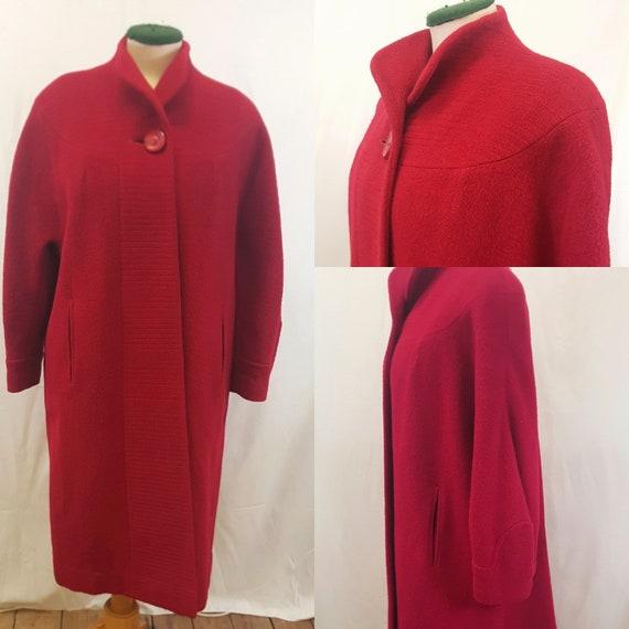 1950s Red Wool Coat with Bishop Sleeves