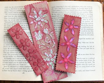Bookmarks, Handmade Paper Bookmarks with Cut-Out Distressed Flowers - 3 Bookmarks