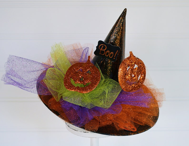 Kostüme Witch Hat With Purple Flowers And Pink Sequins ~ Halloween ~ Wicked