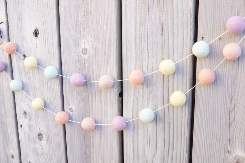 Party Decor Nursery Decor Rainbow Baby Girl Room 5ft Pastel Rainbow Felt Ball Garland Rainbow Theme 2.5cm Ball