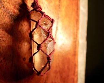 Tangerine Quartz Crystal Hemp Wrapped Necklace