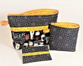 Beer lovers, Cosmetic bag, Travel bag, Makeup storage, Hostess gift, Zipper bag, Graduation Gift Idea, Black, Gold, Mother's Day Gift