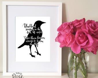 Blackbird quote, Beatles song lyrics, Blackbird singing print, wall decor