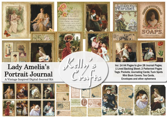 Advertisements and Ephemera a vintage inspired Digital Kit filled with 19th-20th Century Portraits Lady Amelia/'s Portrait Journal