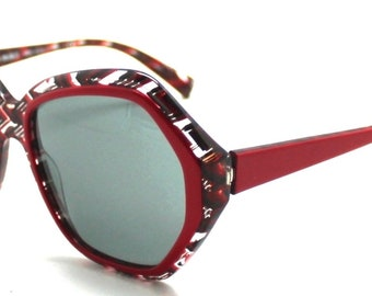 61c2cefd6ee ALAIN MIKLI red black and clear sunglasses herringbone A05025