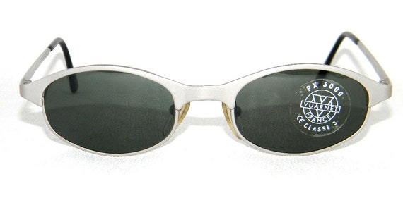 Retro Small Vintage 90s Vuarnet 063 Matte Silver Sunglasses with Px3000 Green Mineral Glasses Made in France