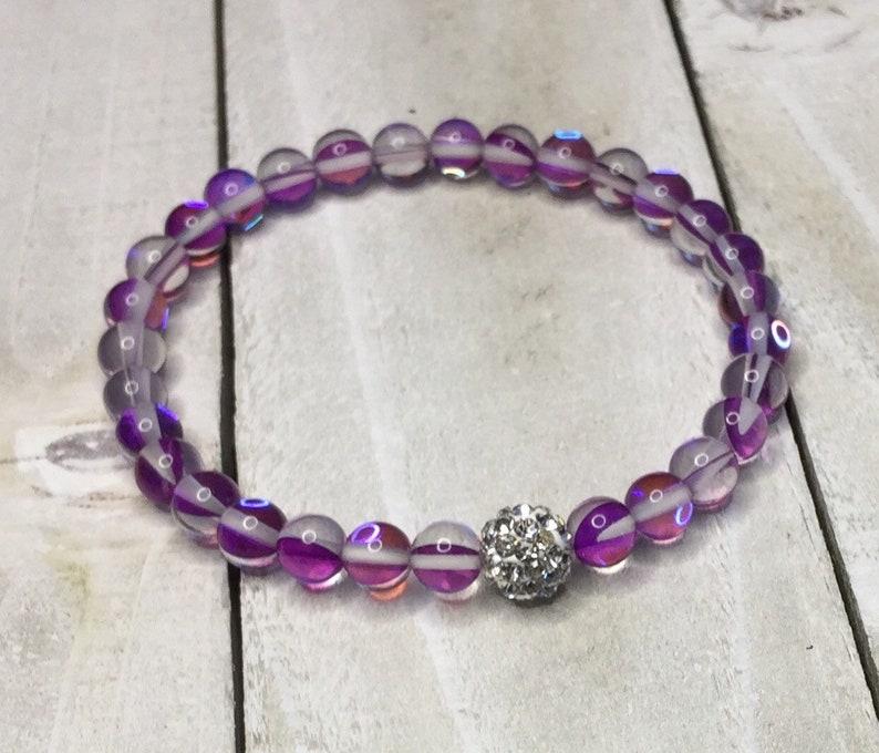 128fa7196ad87 Mermaid Glass Bracelet, 6mm, Clear Magenta, Purple, Stretch Bracelet,  Crystal Rhinestone, New Item, for Women, For Girls, Bridesmaid Jewelry