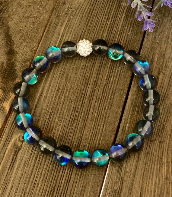 Silver Mystic Aura Shimmering Bracelet Gift Idea for Her Ghost Crystals Elastic Colorful Clear Handmade