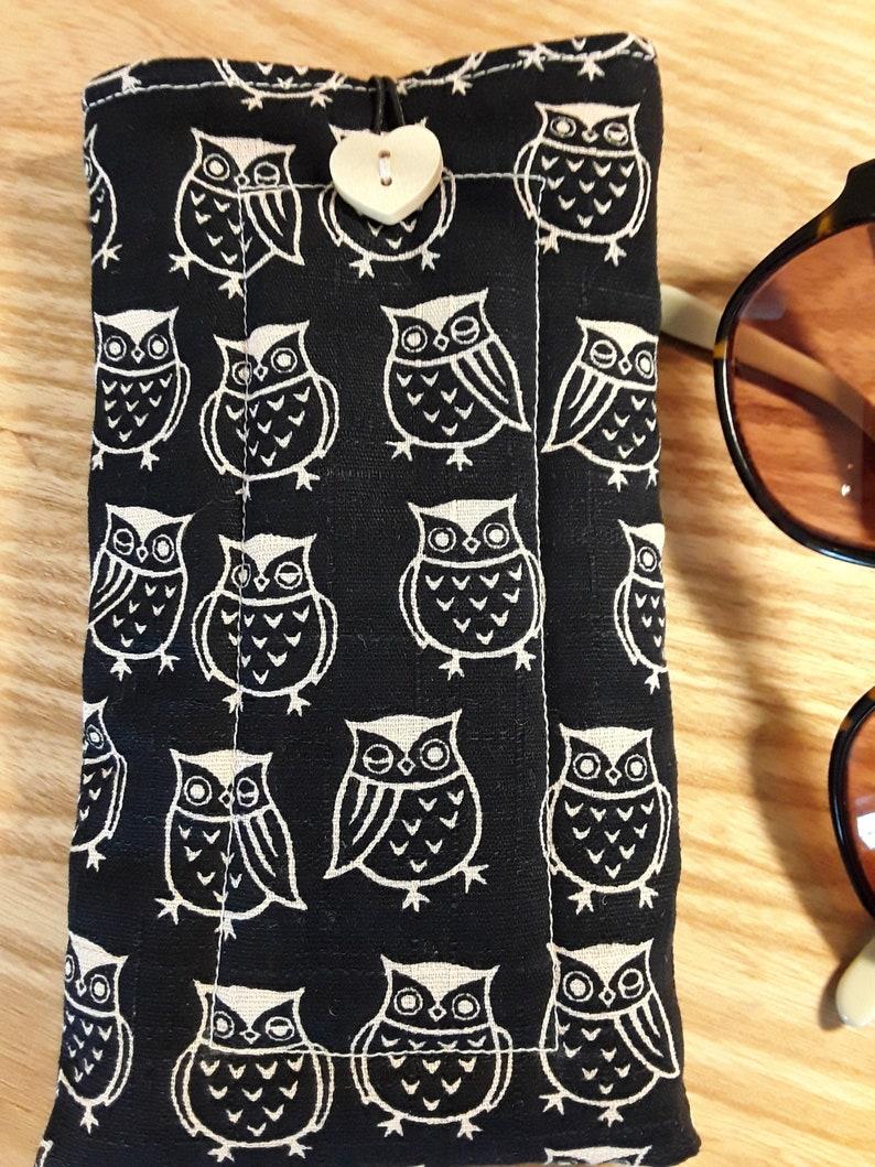 Owls glasses/sunglasses fabric handmade slip/case image 0
