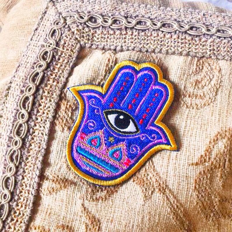 blue hand patch eye patch. hand of fatima hand patch boho patch khamsa hand Khamsa Hamsa hand blue eye patch