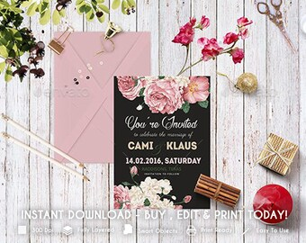 DIY Pfingstrosen Hochzeit Einladung PSD Vorlage | Aquarell Blumen Hochzeit  Templett Sofortigen Download |