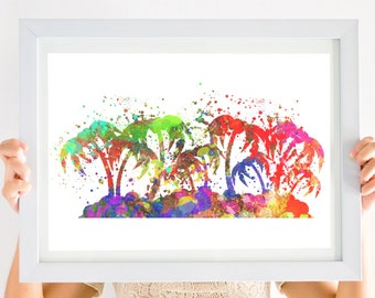 Palm Tree Island Abstract Art Print. Watercolor Paint Splatter. Tropical. Atlantic Ocean. Beach House Decor. Pacific. Palmetto State.