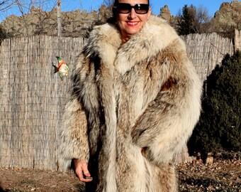 Medium Long Coyote Fur Coat Fur Jacket Fantastic