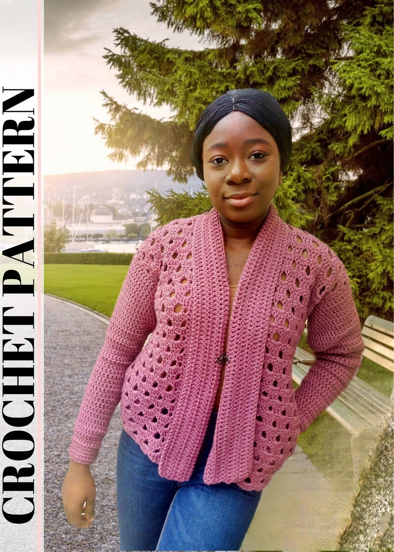 Crochet Pocket Cardigan Pattern  Spring Cardigan for Women  image 0