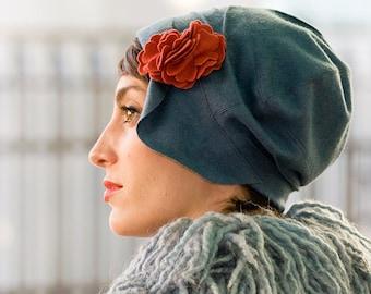 Cashmere Blue Grey 1920s Cloche Hat - Womens Winter Gift Cashmere Wool Hat