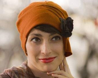 Cashmere Burnt Orange Cloche 1920s Cloche Hat - Womens Winter Cashmere Wool Hat