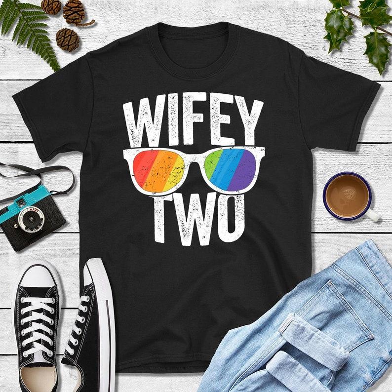 Wifey Two Shirt LGBT Wedding Lesbian Bride Gay Wedding Gift image 0