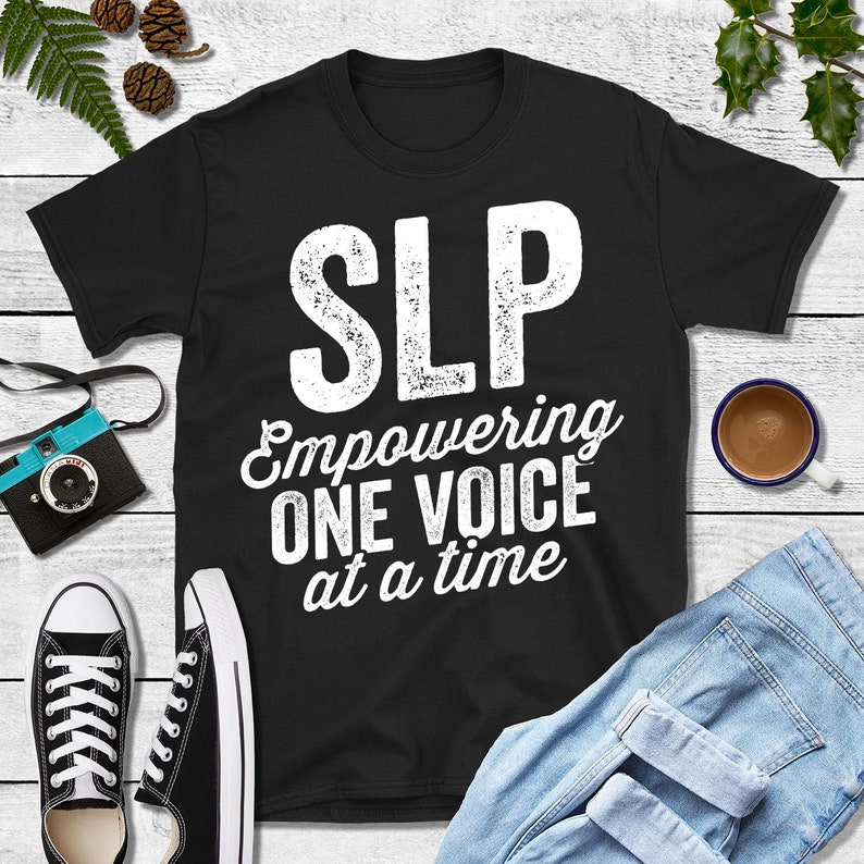 SLP Empowering One Voice At A Time Shirt Speech Pathology image 0