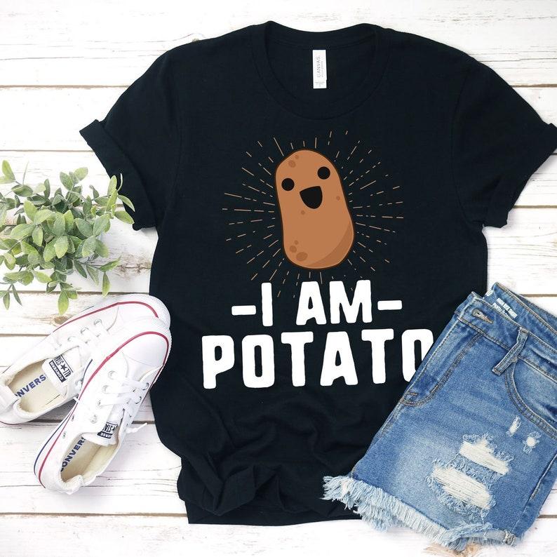 I Am Potato Shirt Potato Shirt Couch Potato Cute Vegan Shirt image 0