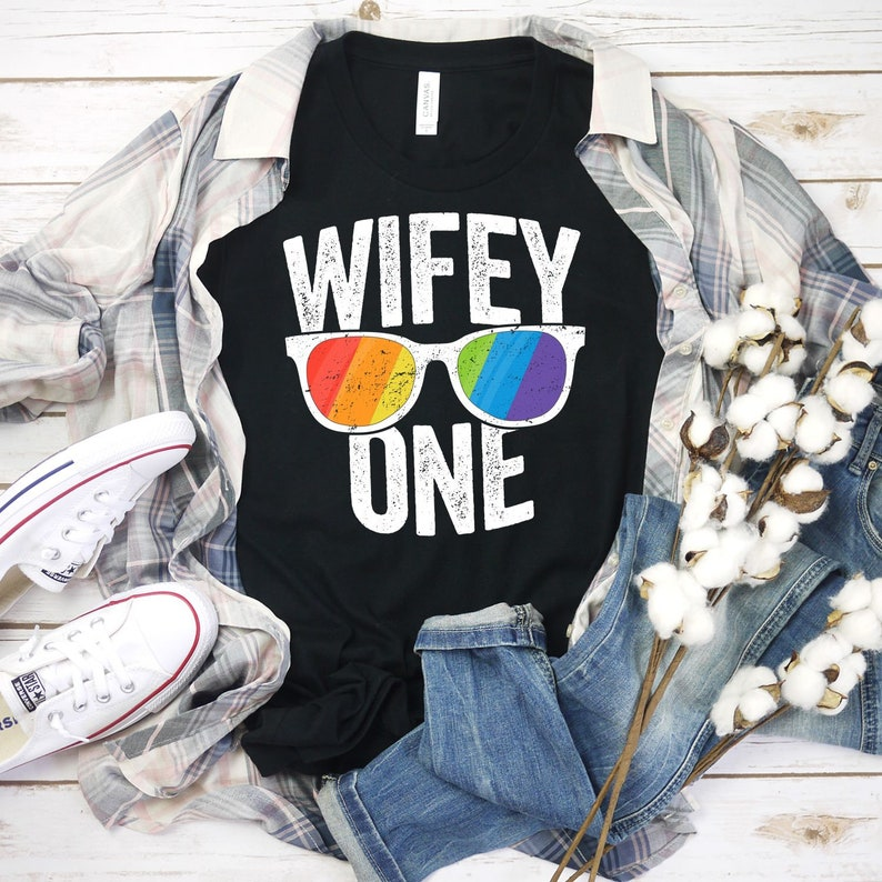 Wifey One Shirt LGBT Pride Gay Gift Personalized Wedding Gay image 0