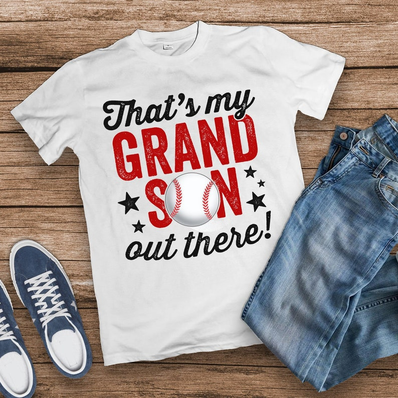 That's My Grandson Out There Shirt Mom Baseball Shirt image 0