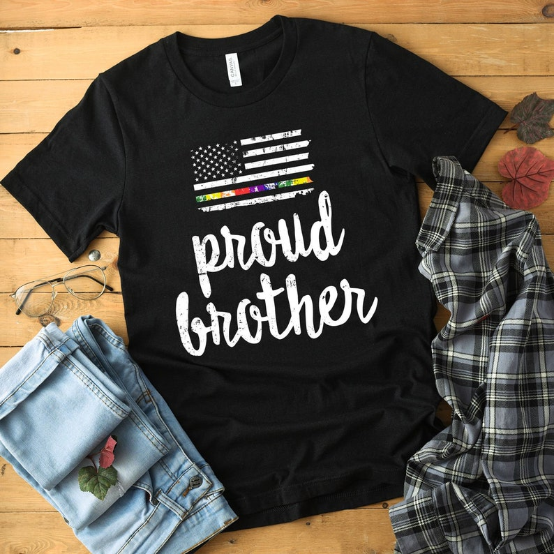 Proud LGBTQ Brother Shirt pride clothing lgbt shirt lesbian image 0