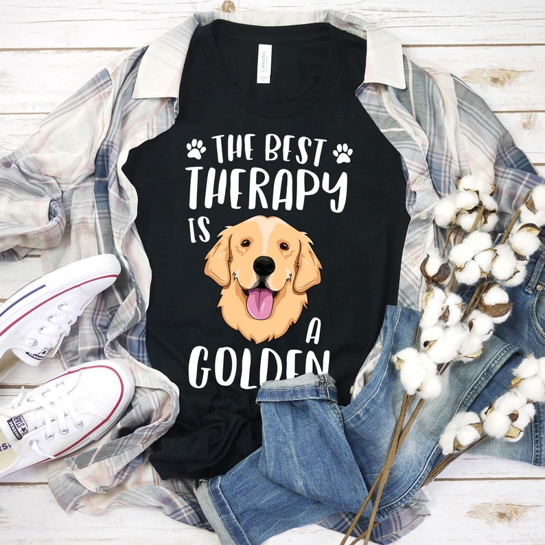 The Best Therapy Is A Golden Shirt Retriever Dog Dog Shirt image 0