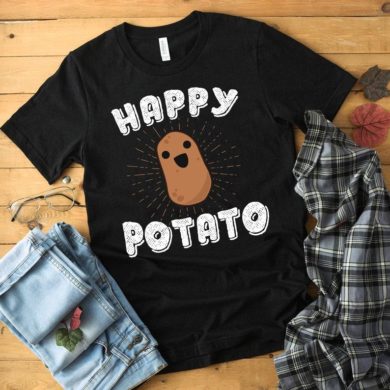Happy Potato Shirt Lounge Shirt Potato T Shirt Potato Tshirt image 0