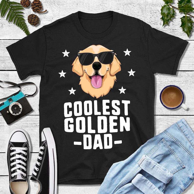 Coolest Golden Dad Shirt Golden Retriever Dad Kids Dog Shirt image 0