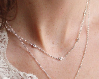 Topaz Layering Necklace | Sterling Silver Layering Necklace with White Topaz in Chain